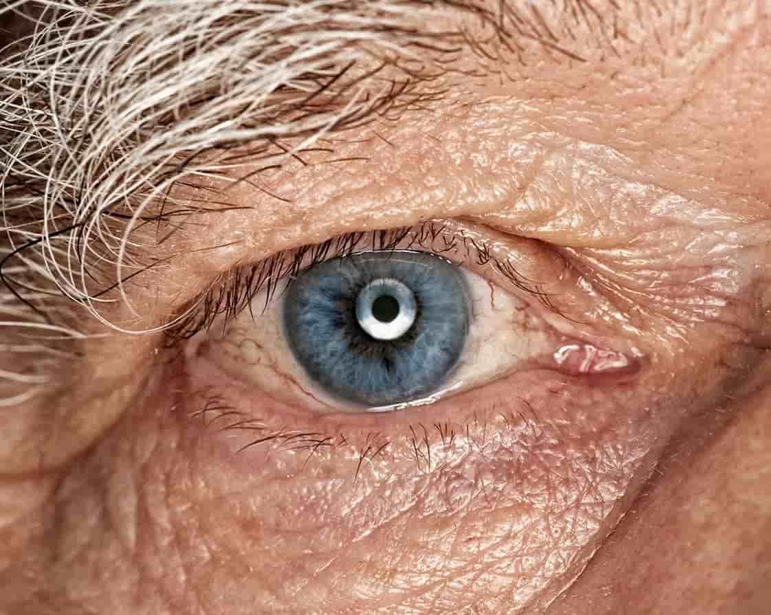Close up of elderly woman's eye