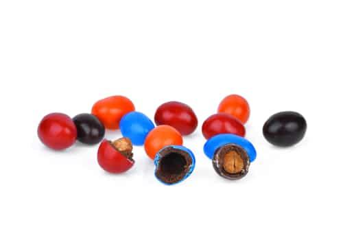 A photo of peanut M&M's.